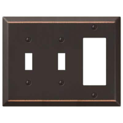 Metallic 3 Gang 2-Toggle and 1-Rocker Steel Wall Plate - Aged Bronze