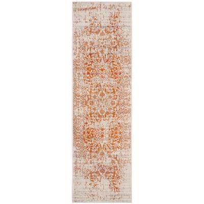 Madison Orange/Ivory 2 ft. x 8 ft. Geometric Runner Rug