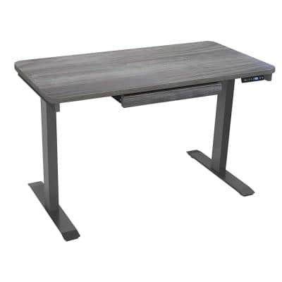 48 in. Rectangular Gray 1 Drawer Standing Desk with Adjustable Height Feature