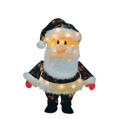24 in. Candy Cane Lane 3D Santa Claus In Camo Suit Yard Décor