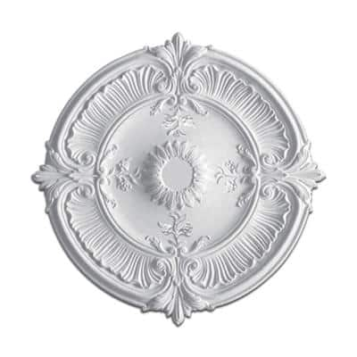 1-1/2 in. x 30-1/2 in. Leaves and Flowers Polyurethane Medallion
