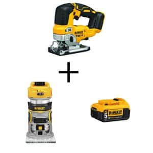 20-Volt MAX XR Cordless Brushless Jigsaw with Brushless Router & (1) 20-Volt 5.0Ah Battery