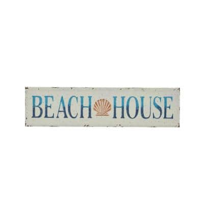 Large Metal Beach House Sign Wall Decor, 36 in. x 10 in.