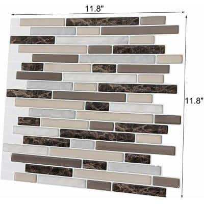 Staggered Colorful 12 in. H x 12 in. H Vinyl Peel and Stick Tile Decorative Wall Tile Backsplash (8.3 sq. ft./Pack)