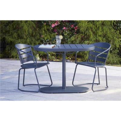 3-Piece Steel Outdoor Patio Bistro Set in Gray