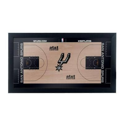 San Antonio Spurs Official NBA Court 15 in. x 26 in. Black Framed Plaque