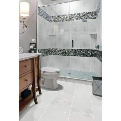 12 in. x 24 in. Carrara Polished Porcelain Floor and Wall Tile (16 sq. ft./case)