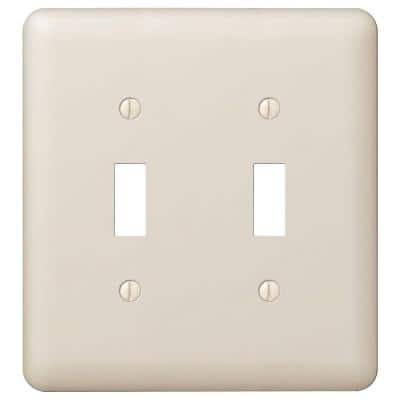 Declan 2 Gang Toggle Steel Wall Plate - Almond