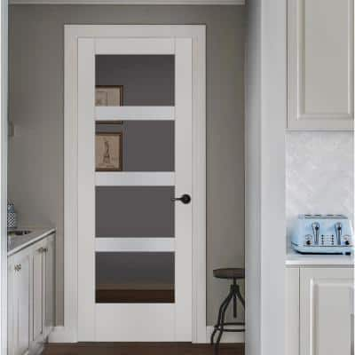 36 in. x 80 in. MODA Primed PMC1044 Solid Core Wood Interior Door Slab w/Clear Glass