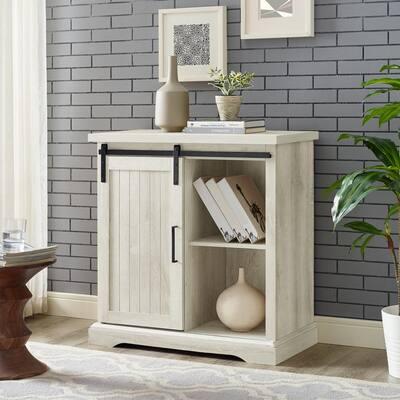 32 in. White Oak Modern Farmhouse Accent Cabinet