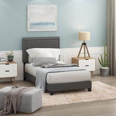 Laval Stone Twin Double Row Nail Head Bed Frame