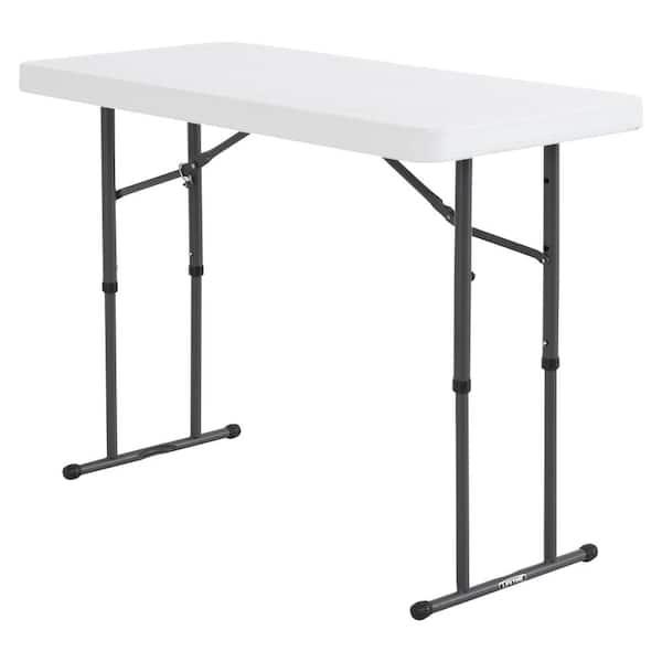 Lifetime 4 Ft White Granite Resin Adjustable Height Commercial Folding Table 80160 The Home Depot