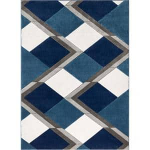 Good Vibes Nora Blue Modern Geometric Stripes and Boxes 5 ft. 3 in. x 7 ft. 3 in. Area Rug