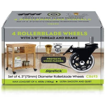 3 in. Rollerblade Caster Wheels with Brake (Set of 4)