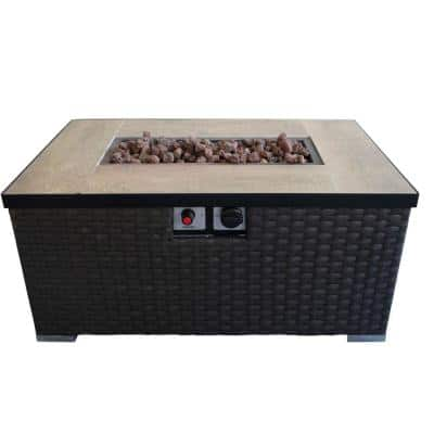 31.5 in. W x 15 in. H Rectangular Gas Brown Fire Pit Table with Woven Pattern and Metal Lid
