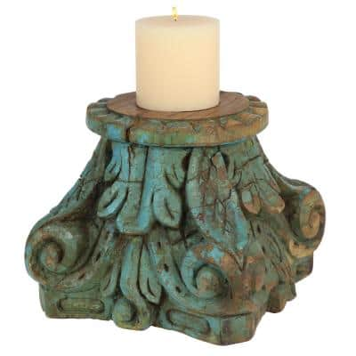 10 in. x 11.5 in. Wooden Pillar Candle Holder from India