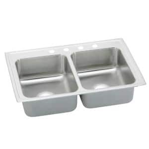 Celebrity Drop-In Stainless Steel 33 in. 4-Hole Double Bowl Kitchen Sink with 7.5 in. Bowls