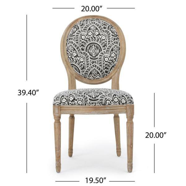 Noble House Phinnaeus Black And White Patterned Fabric Upholstered Dining Chair Set Of 2 11454 The Home Depot