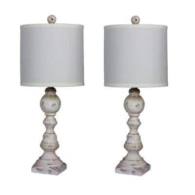Pair of 26 in. Distressed Balustrade Resin Table Lamps in a Cottage Antique White