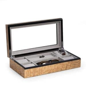 Lacquered ''Burl'' Wood Valet/Jewelry Box with Glass Top and Soft Velour Lining