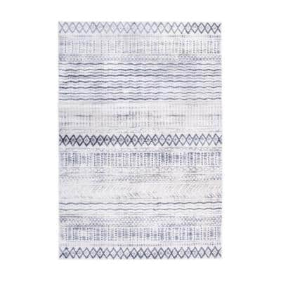 Contemporary Bohemian Waves Design Gray 5 ft. x 7 ft. Area Rug