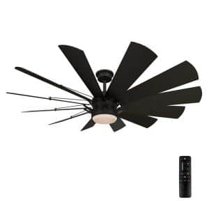 Trudeau 60 in. LED Indoor Matte Black Ceiling Fan with Light Kit and Remote Control
