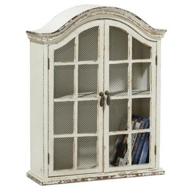 Traditional 2-Door Wood and Metal Arched Wall Cabinet