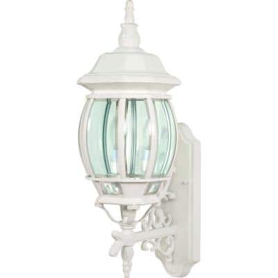 3-Light - 22 in. Wall Lantern Sconce with Clear Beveled Glass White
