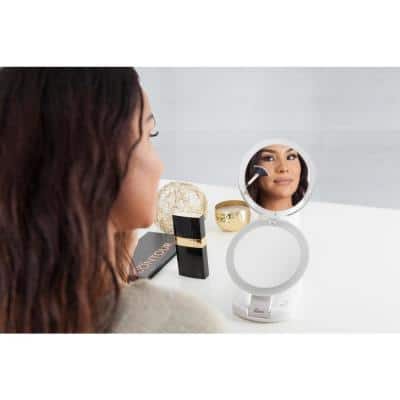 6.25 in. W x 16 in. H LED Height Adjustable 10X/1X Compact Vanity, Wall Mount and Travel Beauty Makeup Mirror in Ivory