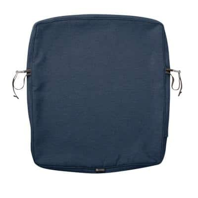 Montlake FadeSafe 21 in. W x 25 in. H x 2 in. D Patio Dining Back Cushion Slip Cover in Heather Indigo Blue