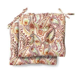 Hampton Bay 19 in. x 18 in. x 4.5 in. Chili Paisley Tufted Outdoor Seat Cushion (2 Pack)
