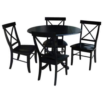 5-Piece 42 in. Black Dual Drop Leaf Table Set with 4-Side chairs