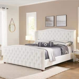 Marcella Bright White King Upholstered Bed