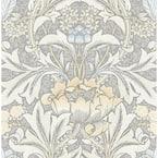30.75 sq. ft. Daydream Grey & Pearl Blue Morris Flower Vinyl Peel and Stick Wallpaper Roll