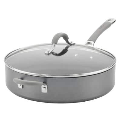 Elementum 5 qt. Hard-Anodized Aluminum Nonstick Saute Pan in Oyster Gray with Glass Lid