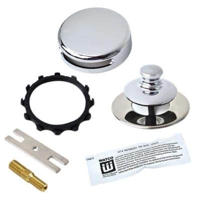 Universal NuFit Push Pull Bathtub Stopper, Innovator Overflow, Silicone, Combo Pin and Non-Grid, Chrome Plated
