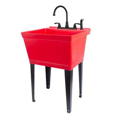 22.875 in. x 23.5 in. Thermoplastic Freestanding Red Utility Sink Set with Black Metal Faucet Sprayer