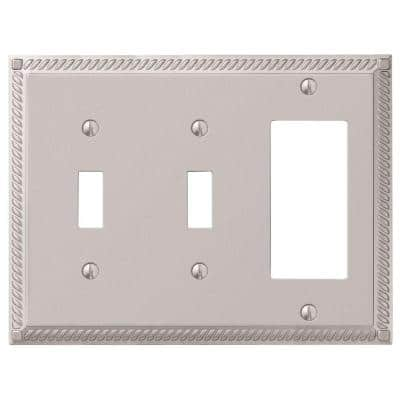 Georgian 3 Gang 2-Toggle and 1-Rocker Metal Wall Plate - Satin Nickel