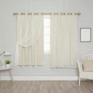 Ivory Grommet Overlay Blackout Curtain - 52 in. W x 63 in. L (Set of 2)