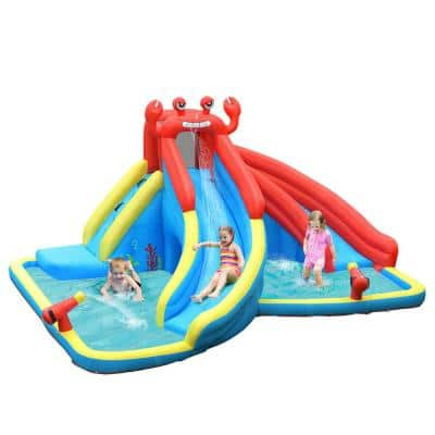 Multi-Color Inflatable Water Slide Crab Dual Slide Bounce House Splash Pool without Blower