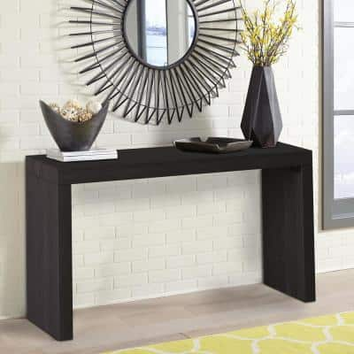 58 in. Black Standard Rectangle Wood Console Table