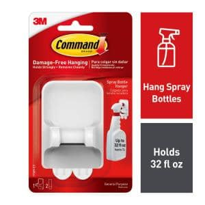 White Spray Bottle Hanger with 2-Large Adhesive Strips