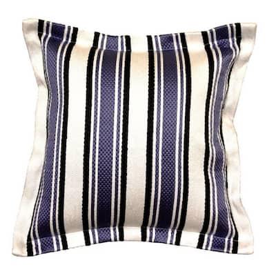 Denim Stripe Square Outdoor Throw Pillow