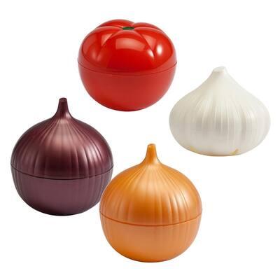4-Piece Set Classic Food Savers (Onion Savers, Tomato Saver, Garlic Saver)