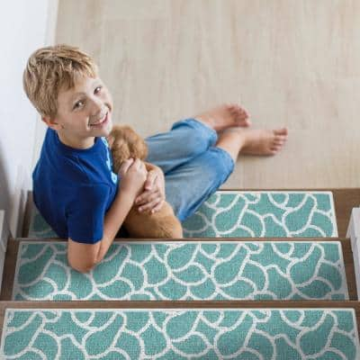 Stone Teal 9 in. x 28 in. Cotton Carpet Stair Tread Cover (Set of 4)