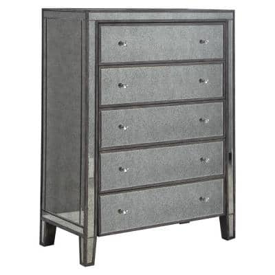 Thea 5-Drawer Gray Brown Antique Mirrored Chest 51 in. H x 38 in. W x 20 in. D