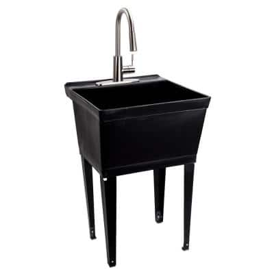 Complete 22.875 in. x 23.5 in. Black 19 Gal. Utility Sink with Metal Hybrid Stainless Steel High Arc Pull-Down Faucet
