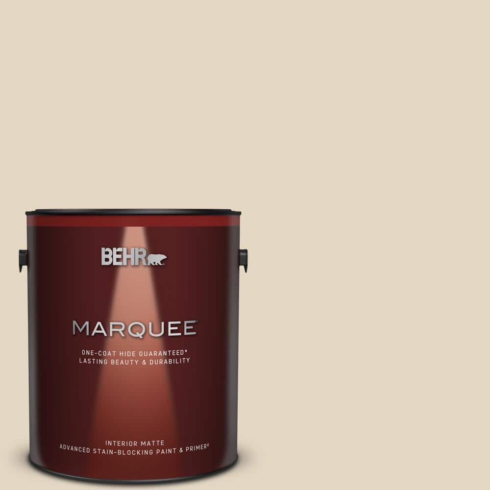 Behr Marquee 1 Gal N270 1 High Style Beige Matte Interior Paint Primer 145001 The Home Depot