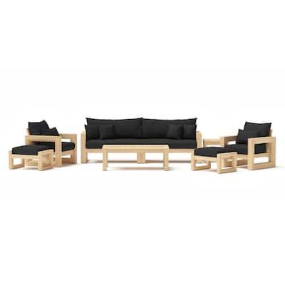 Benson 8-Piece Wood Patio Conversation Set with Canvas Black Cushions