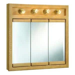 Richland 30 in. W x 30 in. H x 5 in. D Framed 4-Light Tri-View Surface-Mount Bathroom Medicine Cabinet in Nutmeg Oak